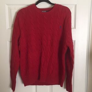 POLO RALPH LAUREN sweater red cable knit XL